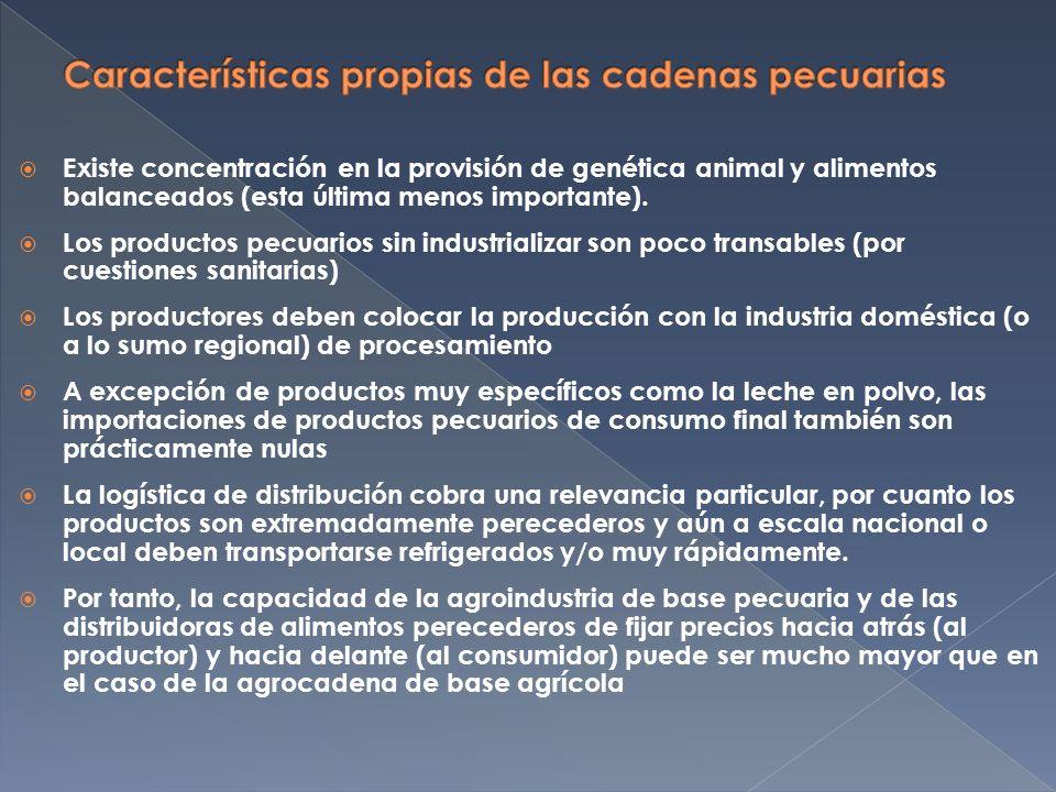 Existe concentración en la provisión de genética animal y alimentos balanceados (esta última menos importante).