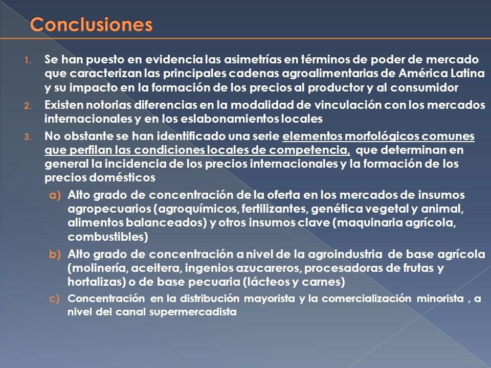 1. Se han puesto en evidencia las asimetrías en términos de poder de mercado que caracterizan las principales cadenas agroalimentarias de América Lati