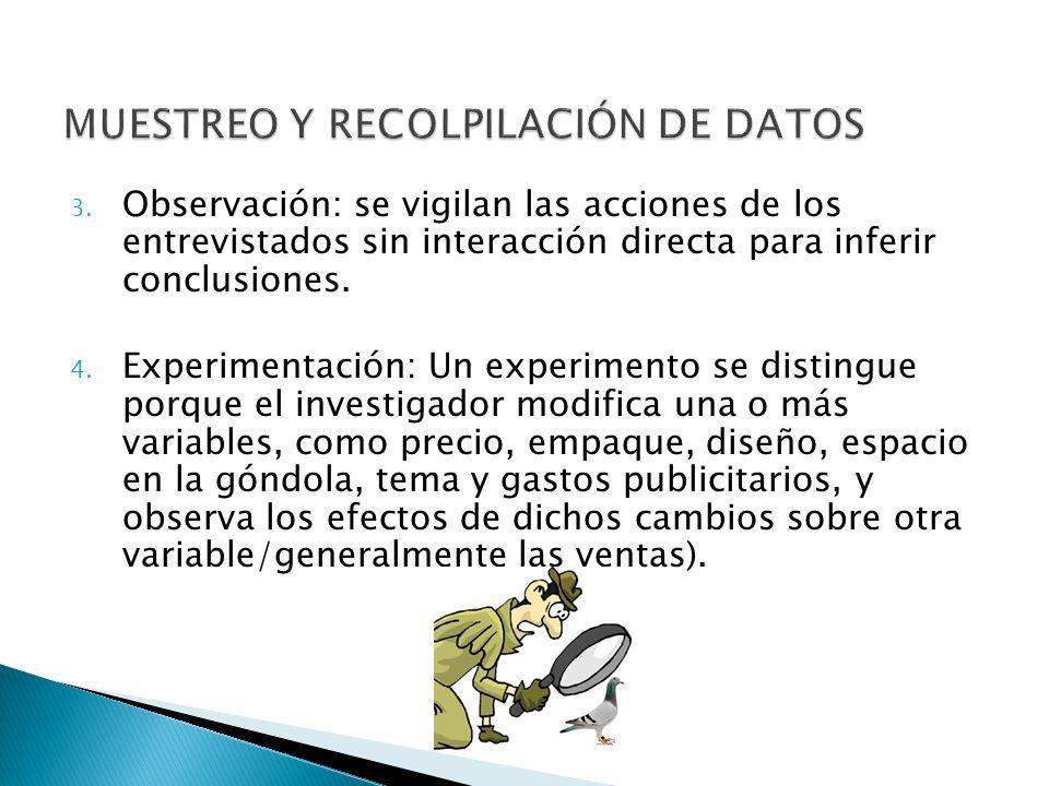 3. Observación: se vigilan las acciones de los entrevistados sin interacción directa para inferir conclusiones. 4. Experimentación: Un experimento se