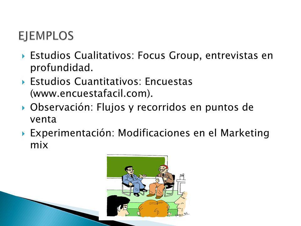 Estudios Cualitativos: Focus Group, entrevistas en profundidad. Estudios Cuantitativos: Encuestas (www.encuestafacil.com). Observación: Flujos y recor