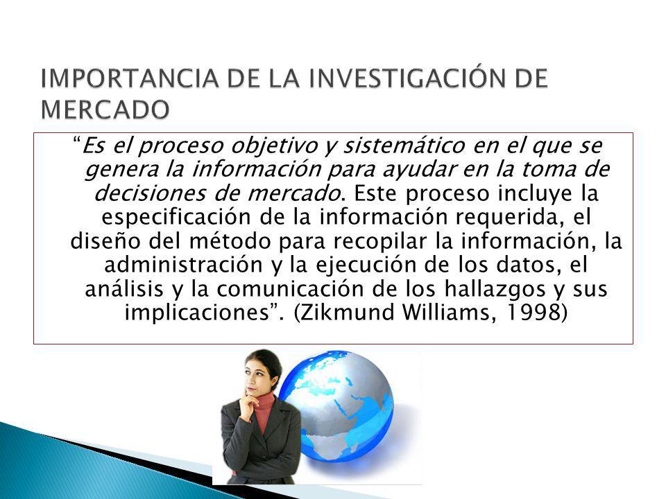 Es el proceso objetivo y sistemático en el que se genera la información para ayudar en la toma de decisiones de mercado. Este proceso incluye la espec