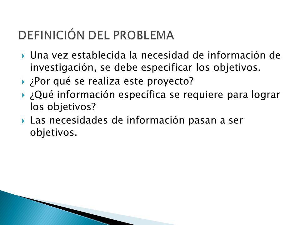 Una vez establecida la necesidad de información de investigación, se debe especificar los objetivos. ¿Por qué se realiza este proyecto? ¿Qué informaci