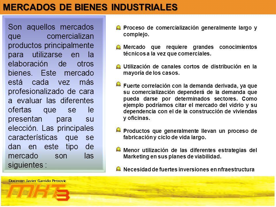 MERCADOS DE BIENES INDUSTRIALES Son aquellos mercados que comercializan productos principalmente para utilizarse en la elaboración de otros bienes. Es