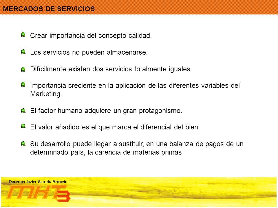 Crear importancia del concepto calidad. Los servicios no pueden almacenarse. Difícilmente existen dos servicios totalmente iguales. Importancia crecie