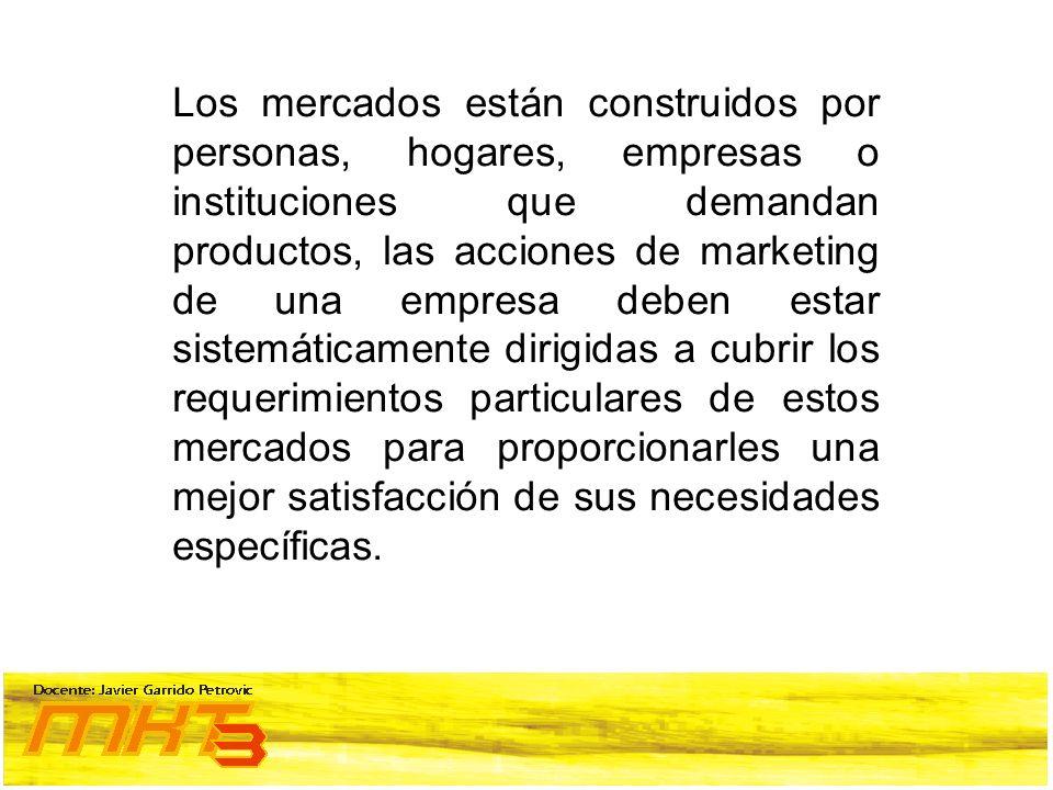 Los mercados están construidos por personas, hogares, empresas o instituciones que demandan productos, las acciones de marketing de una empresa deben