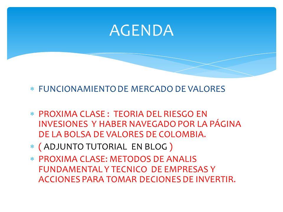 FUNCIONAMIENTO DE MERCADO DE VALORES PROXIMA CLASE : TEORIA DEL RIESGO EN INVESIONES Y HABER NAVEGADO POR LA PÁGINA DE LA BOLSA DE VALORES DE COLOMBIA