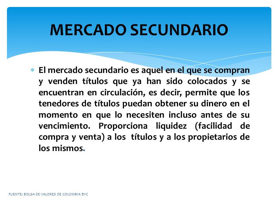 MERCADO SECUNDARIO El mercado secundario es aquel en el que se compran y venden títulos que ya han sido colocados y se encuentran en circulación, es d