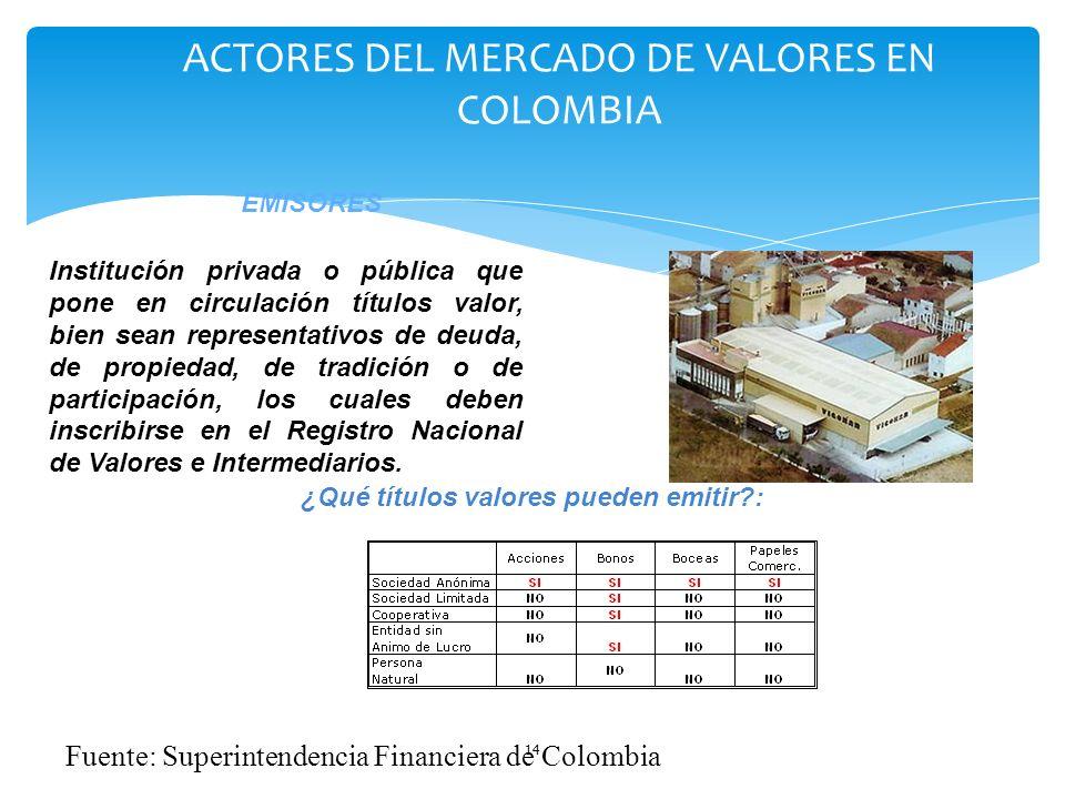 14 Institución privada o pública que pone en circulación títulos valor, bien sean representativos de deuda, de propiedad, de tradición o de participac