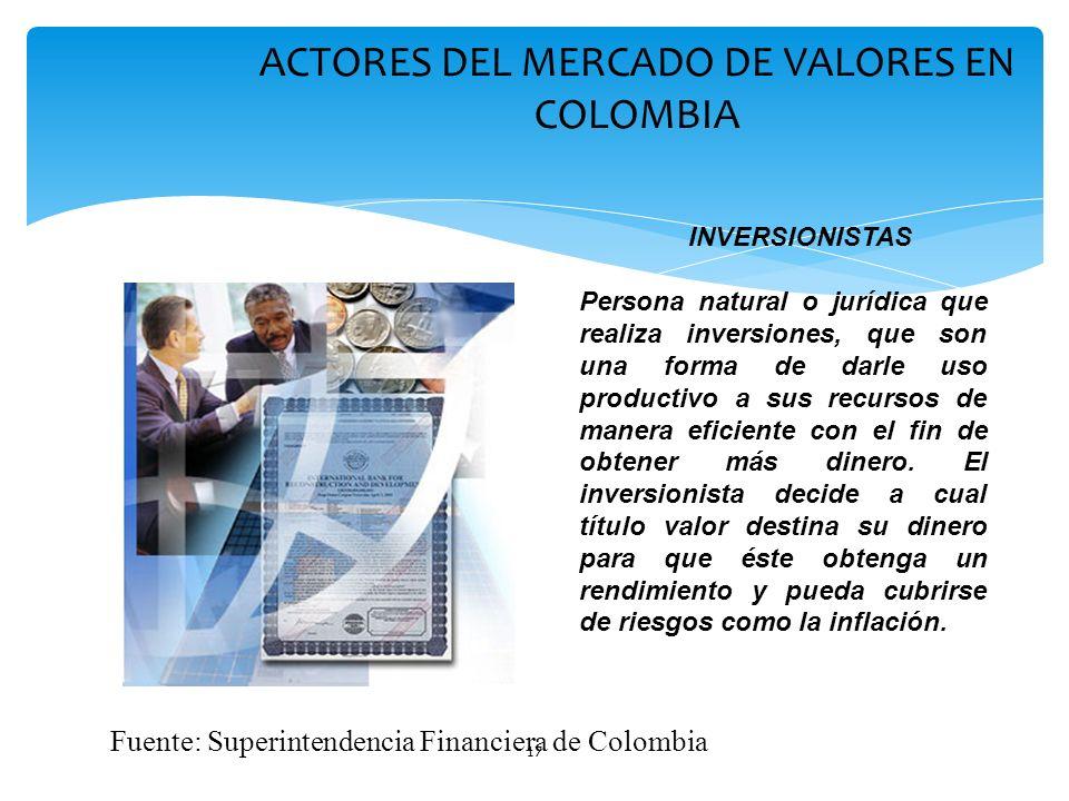 17 ACTORES DEL MERCADO DE VALORES EN COLOMBIA Persona natural o jurídica que realiza inversiones, que son una forma de darle uso productivo a sus recu