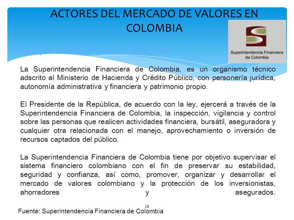18 ACTORES DEL MERCADO DE VALORES EN COLOMBIA La Superintendencia Financiera de Colombia: La Superintendencia Financiera de Colombia, es un organismo