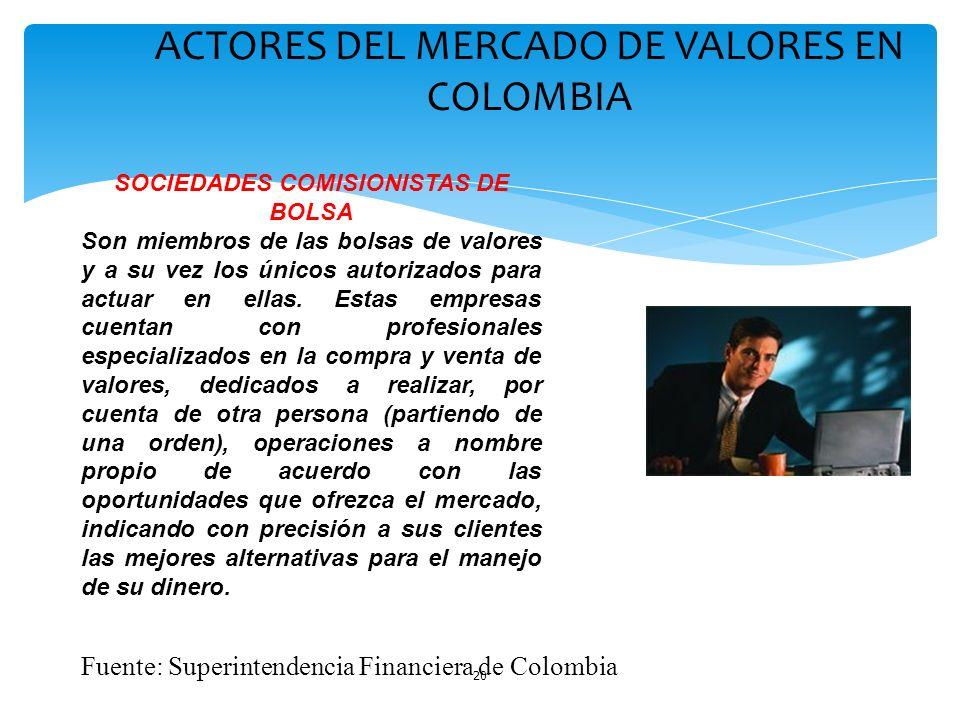 20 ACTORES DEL MERCADO DE VALORES EN COLOMBIA SOCIEDADES COMISIONISTAS DE BOLSA Son miembros de las bolsas de valores y a su vez los únicos autorizado