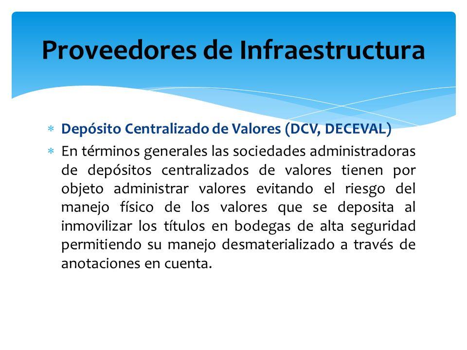Depósito Centralizado de Valores (DCV, DECEVAL) En términos generales las sociedades administradoras de depósitos centralizados de valores tienen por