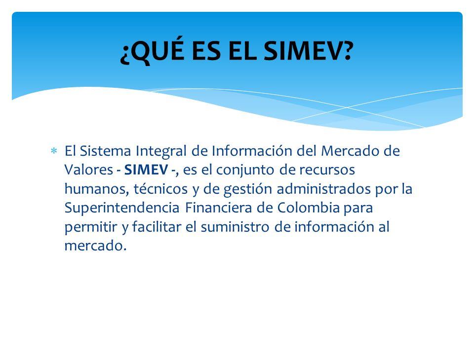 El Sistema Integral de Información del Mercado de Valores - SIMEV -, es el conjunto de recursos humanos, técnicos y de gestión administrados por la Su