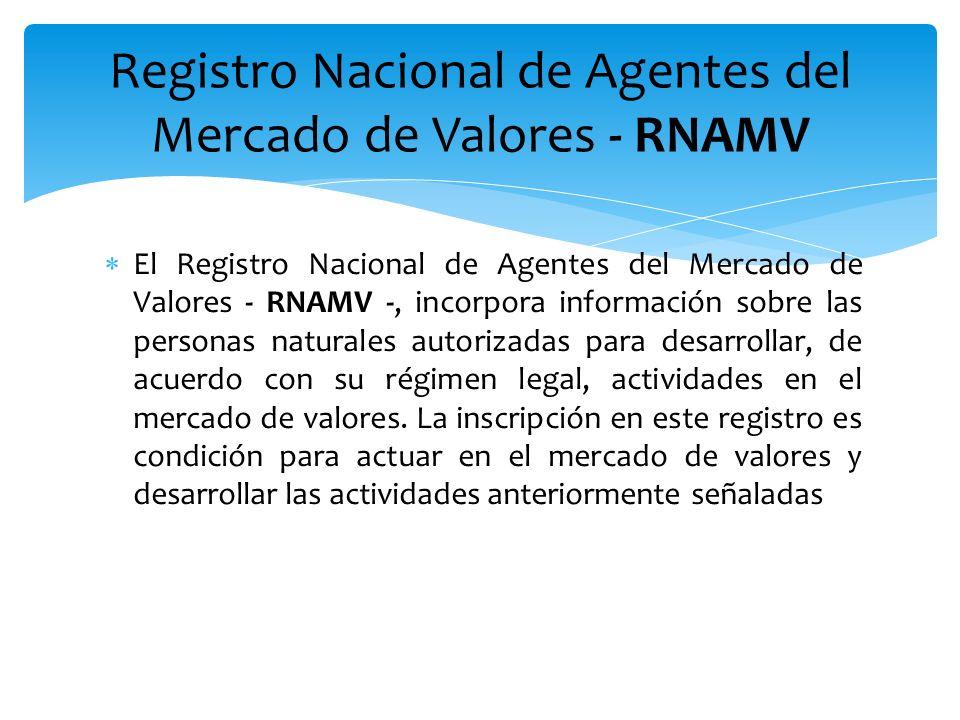 El Registro Nacional de Agentes del Mercado de Valores - RNAMV -, incorpora información sobre las personas naturales autorizadas para desarrollar, de