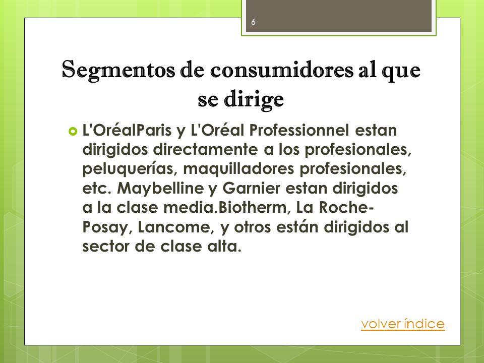 Segmentos de consumidores al que se dirige L'OréalParis y L'Oréal Professionnel estan dirigidos directamente a los profesionales, peluquerías, maquill