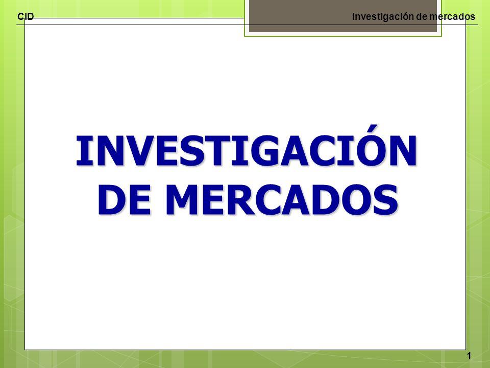 CIDInvestigación de mercados 1 INVESTIGACIÓN DE MERCADOS