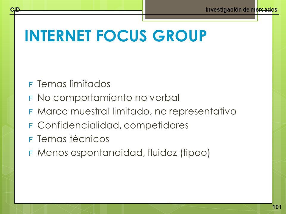 CIDInvestigación de mercados 101 INTERNET FOCUS GROUP F Temas limitados F No comportamiento no verbal F Marco muestral limitado, no representativo F C