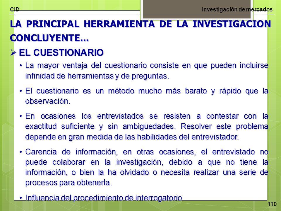 CIDInvestigación de mercados 110 LA PRINCIPAL HERRAMIENTA DE LA INVESTIGACION CONCLUYENTE... EL CUESTIONARIO EL CUESTIONARIO La mayor ventaja del cues