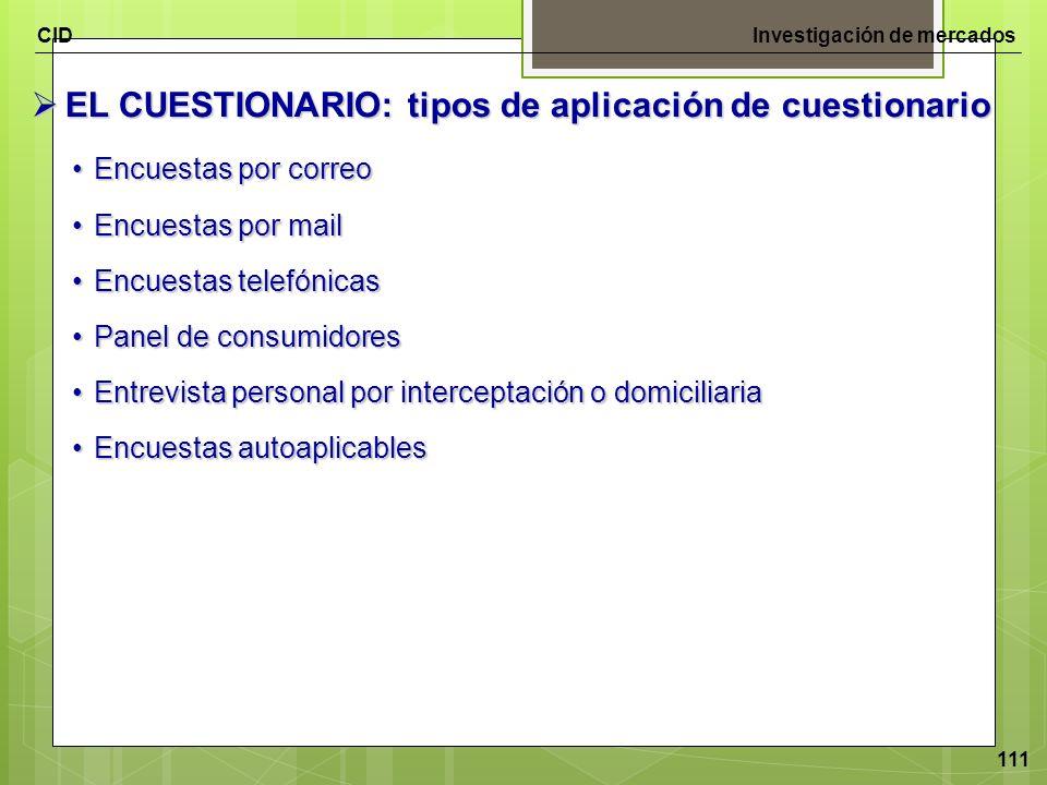 CIDInvestigación de mercados 111 EL CUESTIONARIO: tipos de aplicación de cuestionario EL CUESTIONARIO: tipos de aplicación de cuestionario Encuestas p