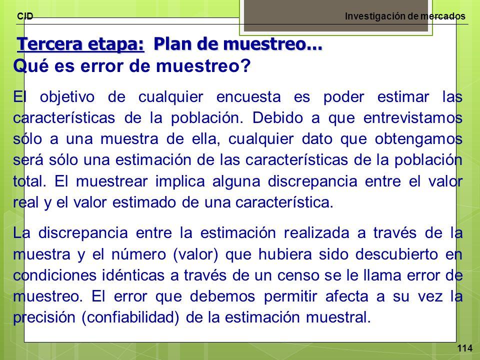 CIDInvestigación de mercados 114 Qué es error de muestreo? El objetivo de cualquier encuesta es poder estimar las características de la población. Deb