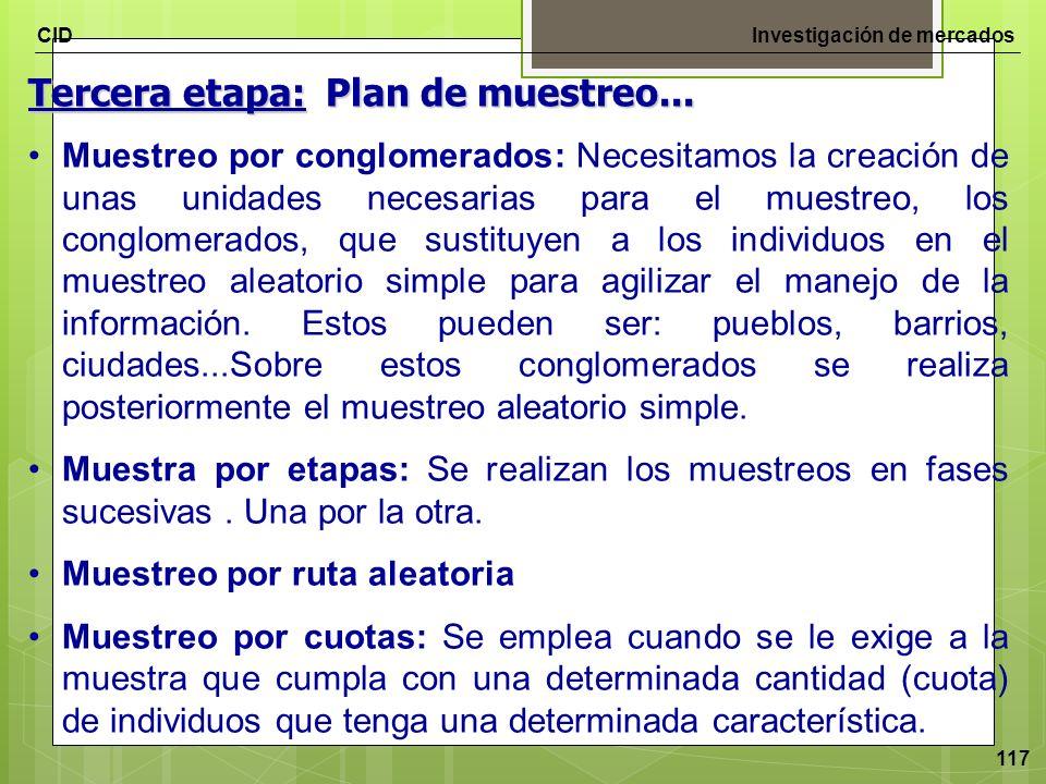 CIDInvestigación de mercados 117 Tercera etapa: Plan de muestreo... Muestreo por conglomerados: Necesitamos la creación de unas unidades necesarias pa