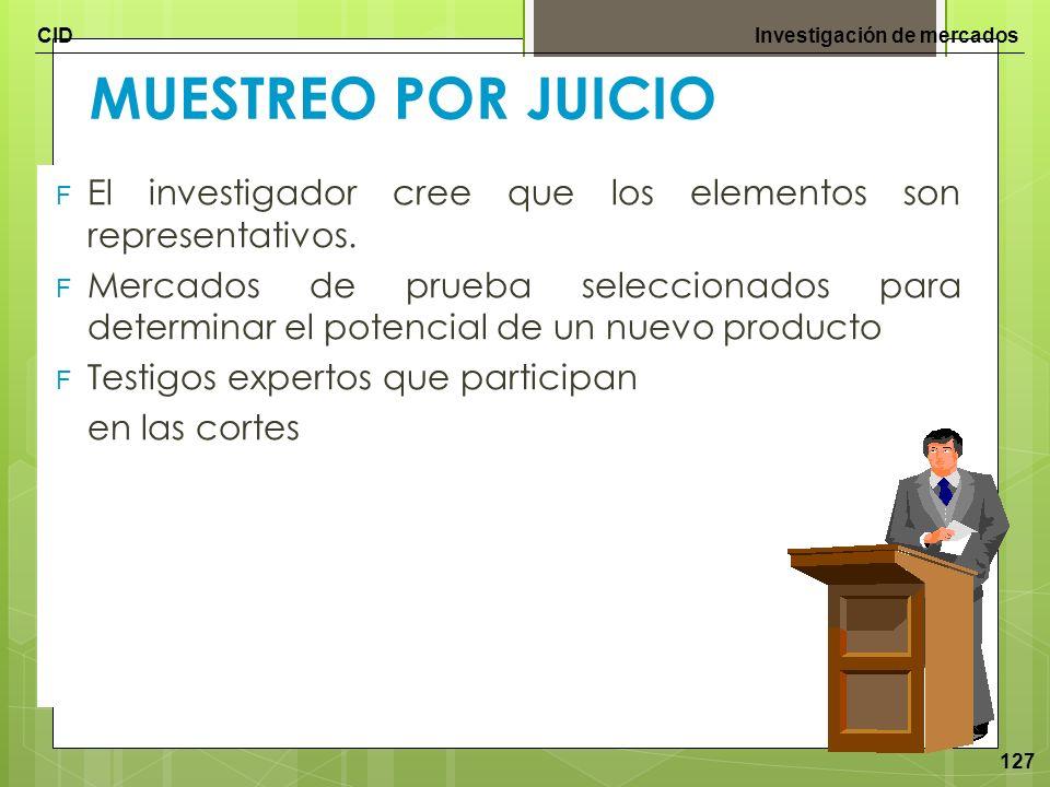 CIDInvestigación de mercados 127 MUESTREO POR JUICIO F El investigador cree que los elementos son representativos. F Mercados de prueba seleccionados