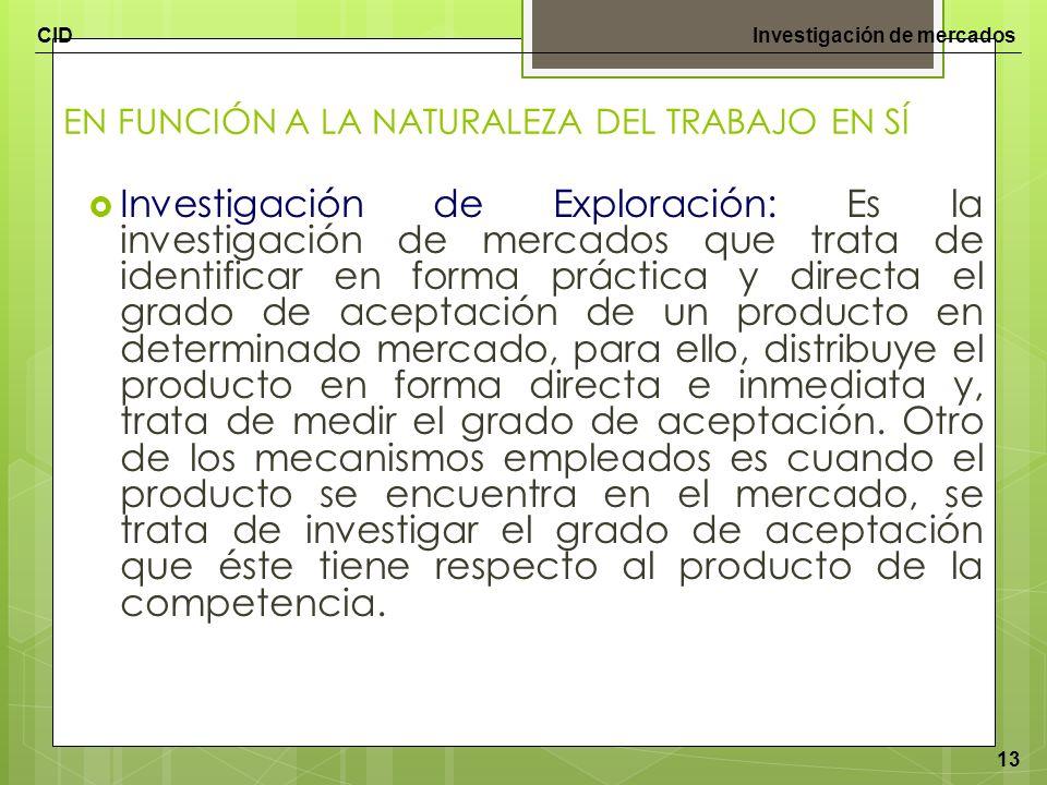 CIDInvestigación de mercados 13 EN FUNCIÓN A LA NATURALEZA DEL TRABAJO EN SÍ Investigación de Exploración: Es la investigación de mercados que trata d
