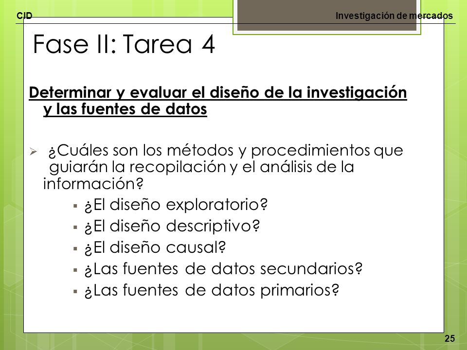 CIDInvestigación de mercados 25 Fase II: Tarea 4 Determinar y evaluar el diseño de la investigación y las fuentes de datos ¿Cuáles son los métodos y p