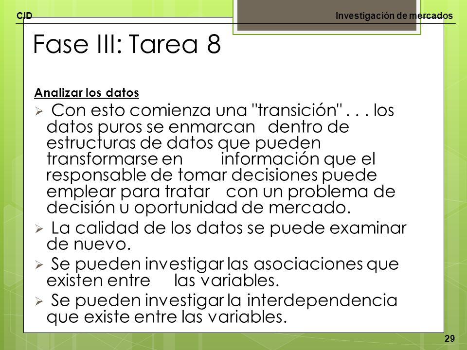 CIDInvestigación de mercados 29 Fase III: Tarea 8 Analizar los datos Con esto comienza una