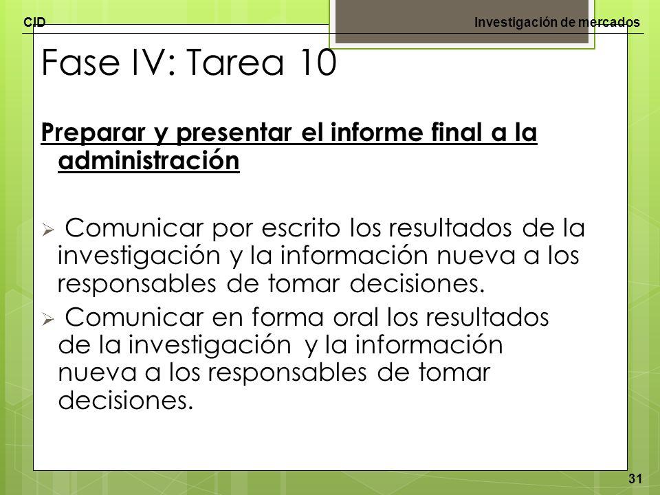 CIDInvestigación de mercados 31 Fase IV: Tarea 10 Preparar y presentar el informe final a la administración Comunicar por escrito los resultados de la