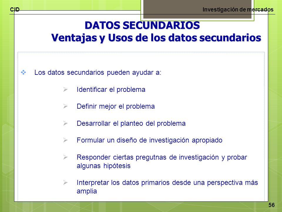 CIDInvestigación de mercados 56 DATOS SECUNDARIOS Ventajas y Usos de los datos secundarios Los datos secundarios pueden ayudar a: Identificar el probl
