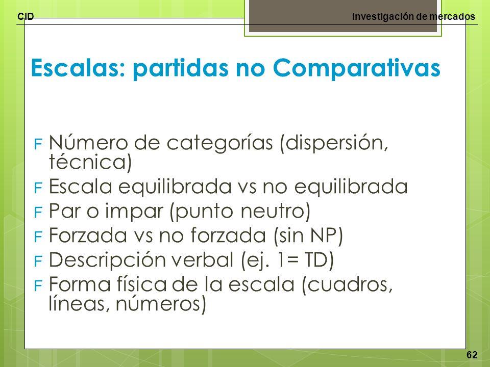 CIDInvestigación de mercados 62 Escalas: partidas no Comparativas F Número de categorías (dispersión, técnica) F Escala equilibrada vs no equilibrada