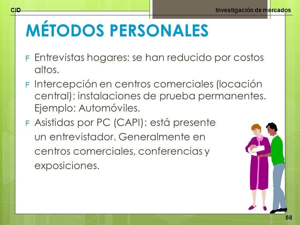 CIDInvestigación de mercados 68 MÉTODOS PERSONALES F Entrevistas hogares: se han reducido por costos altos. F Intercepción en centros comerciales (loc