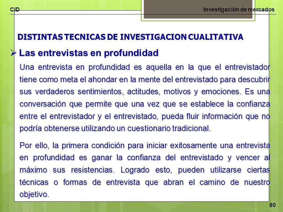 CIDInvestigación de mercados 80 DISTINTAS TECNICAS DE INVESTIGACION CUALITATIVA Las entrevistas en profundidad Las entrevistas en profundidad Una entr