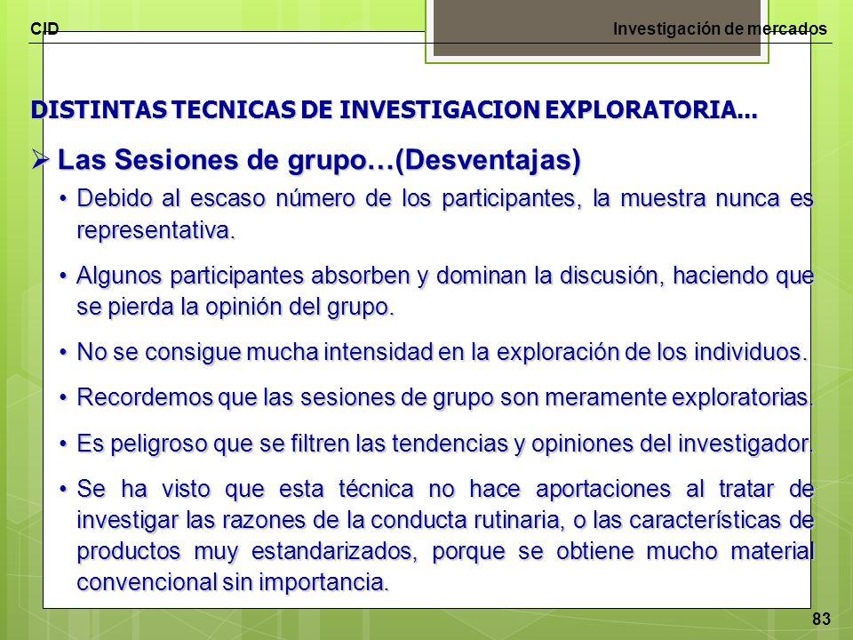 CIDInvestigación de mercados 83 DISTINTAS TECNICAS DE INVESTIGACION EXPLORATORIA... Las Sesiones de grupo…(Desventajas) Las Sesiones de grupo…(Desvent