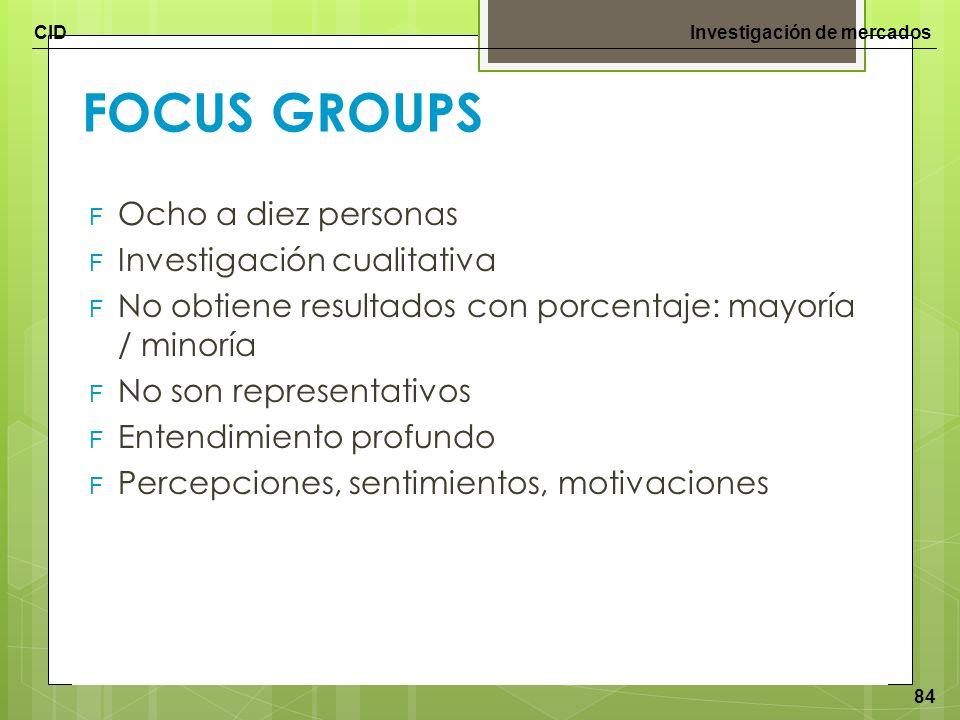 CIDInvestigación de mercados 84 FOCUS GROUPS F Ocho a diez personas F Investigación cualitativa F No obtiene resultados con porcentaje: mayoría / mino