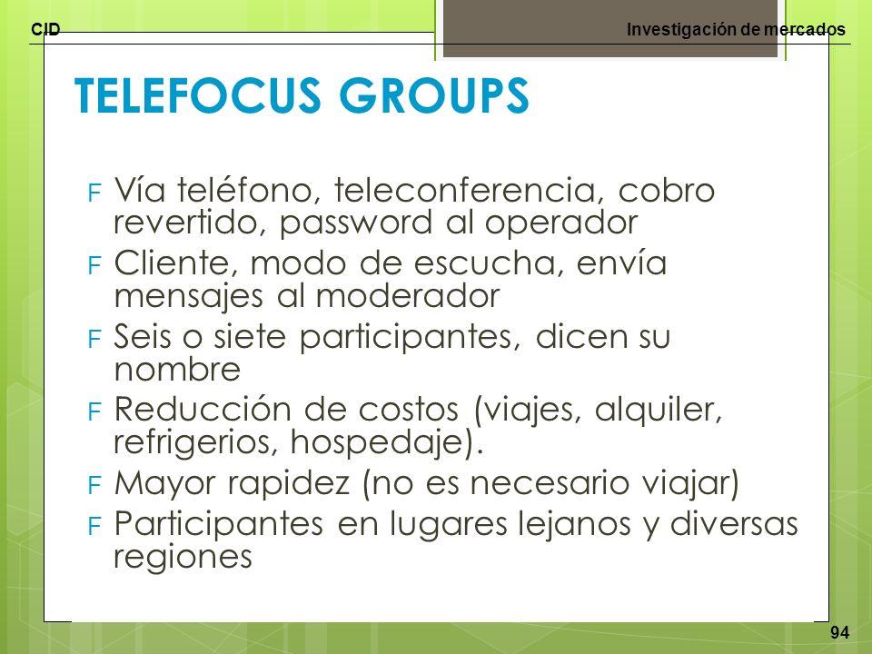 CIDInvestigación de mercados 94 TELEFOCUS GROUPS F Vía teléfono, teleconferencia, cobro revertido, password al operador F Cliente, modo de escucha, en