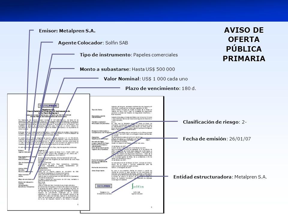 AVISO DE OFERTA PÚBLICA PRIMARIA AVISO DE OFERTA PÚBLICA PRIMARIA Emisor: Metalpren S.A.