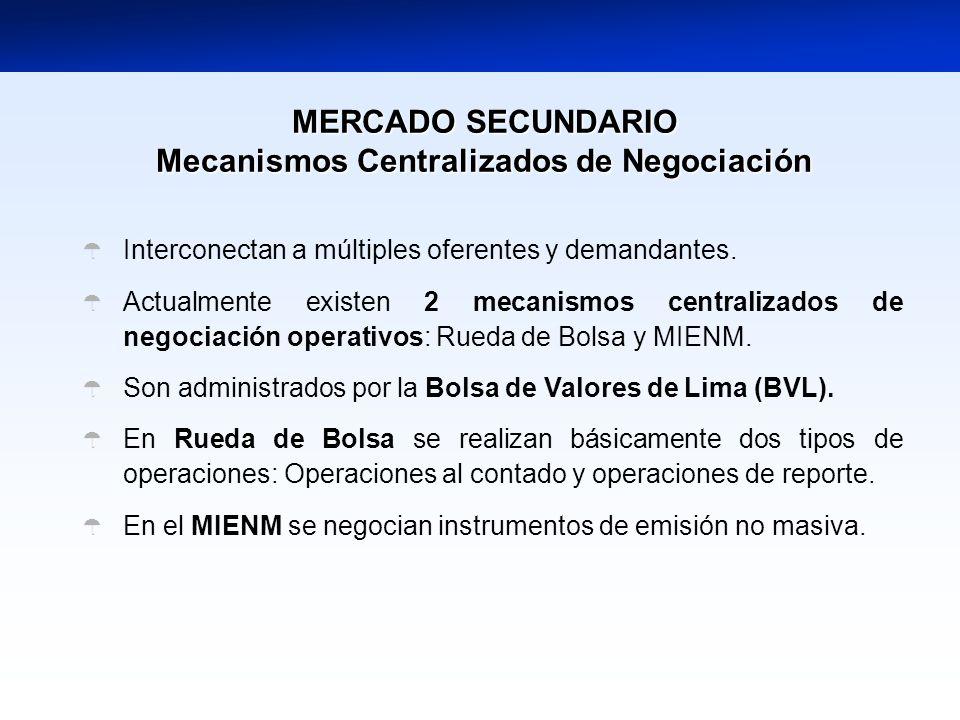 MERCADO SECUNDARIO Mecanismos Centralizados de Negociación Interconectan a múltiples oferentes y demandantes. Actualmente existen 2 mecanismos central