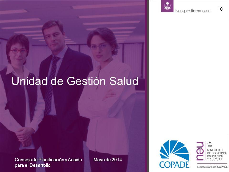 Unidad de Gestión Salud Mayo de 2014 10 Consejo de Planificación y Acción para el Desarrollo