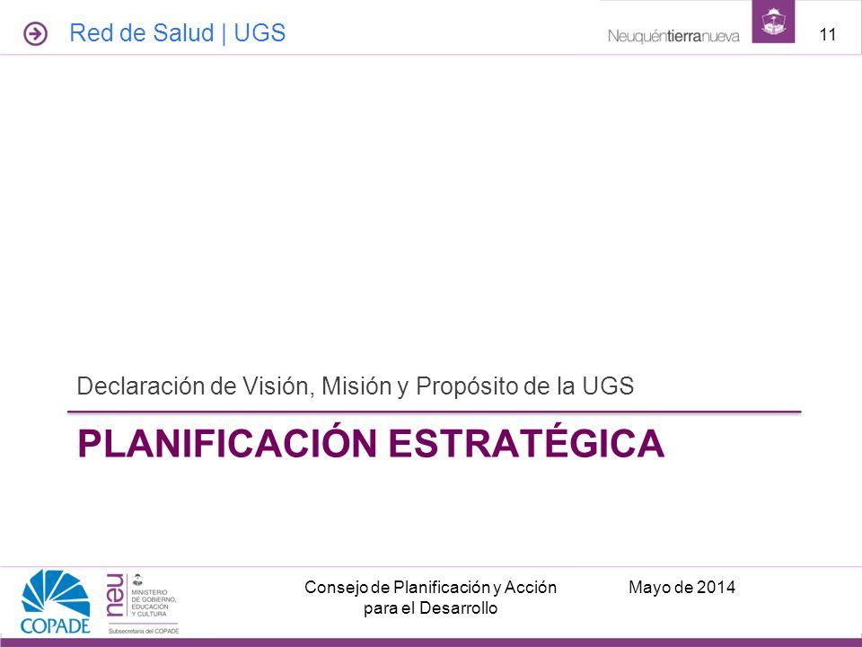 PLANIFICACIÓN ESTRATÉGICA Declaración de Visión, Misión y Propósito de la UGS Mayo de 2014Consejo de Planificación y Acción para el Desarrollo 11 Red