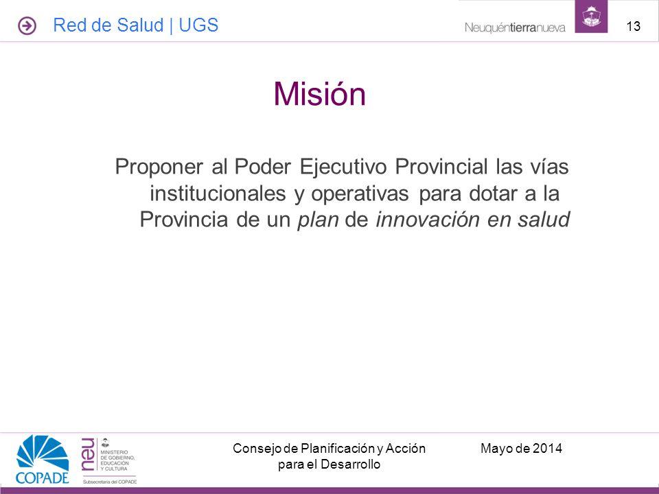 Proponer al Poder Ejecutivo Provincial las vías institucionales y operativas para dotar a la Provincia de un plan de innovación en salud Mayo de 2014C