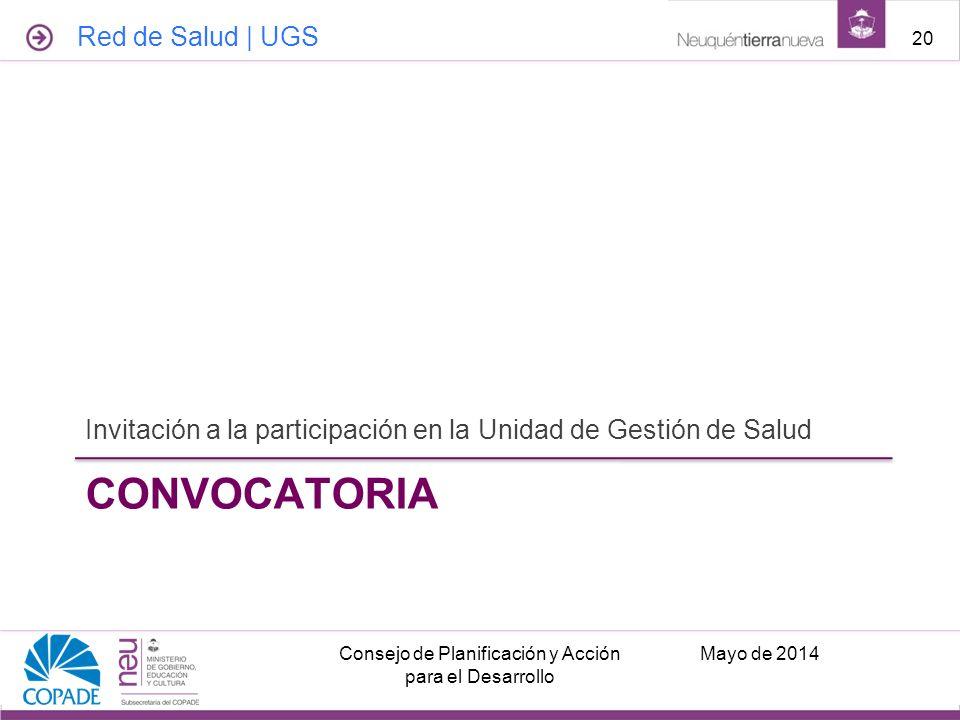 CONVOCATORIA Invitación a la participación en la Unidad de Gestión de Salud Mayo de 2014Consejo de Planificación y Acción para el Desarrollo 20 Red de