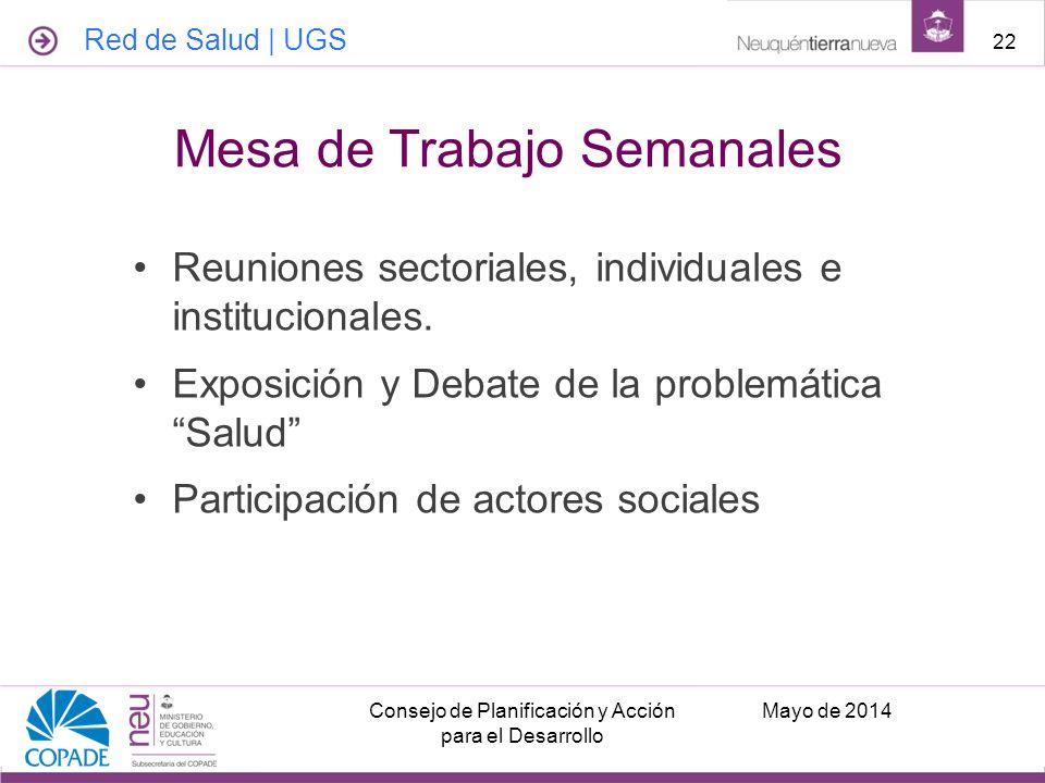 Reuniones sectoriales, individuales e institucionales. Exposición y Debate de la problemática Salud Participación de actores sociales Mayo de 2014Cons
