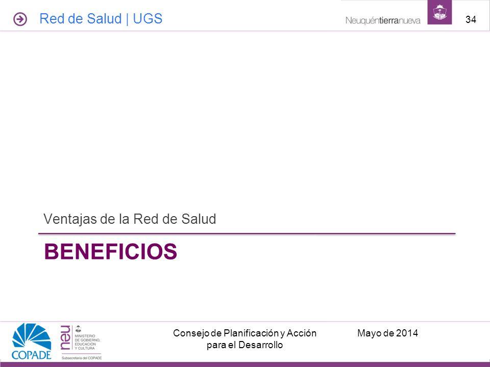 BENEFICIOS Ventajas de la Red de Salud Mayo de 2014Consejo de Planificación y Acción para el Desarrollo 34 Red de Salud | UGS