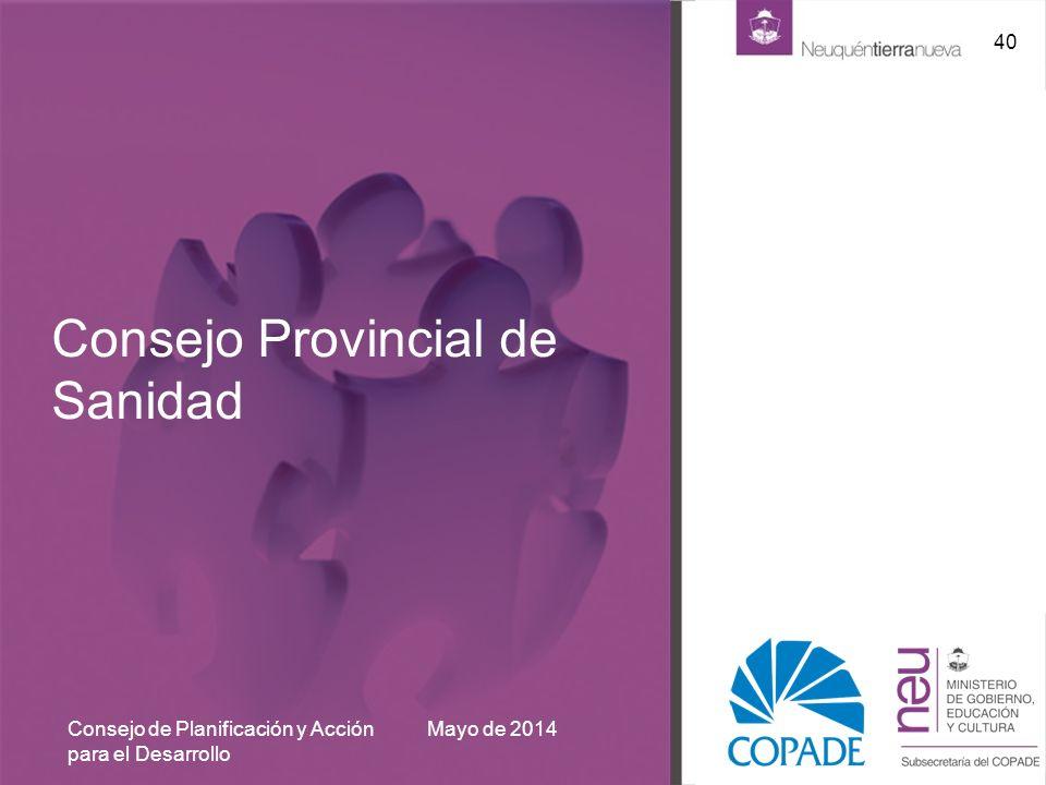 Consejo Provincial de Sanidad Mayo de 2014Consejo de Planificación y Acción para el Desarrollo 40