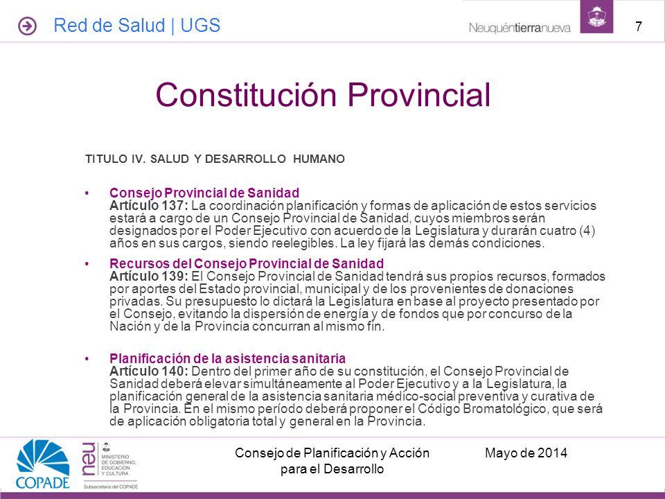 TITULO IV. SALUD Y DESARROLLO HUMANO Consejo Provincial de Sanidad Artículo 137: La coordinación planificación y formas de aplicación de estos servici