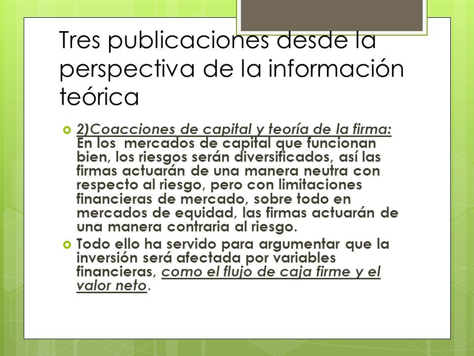 Tres publicaciones desde la perspectiva de la información teórica 2)Coacciones de capital y teoría de la firma: En los mercados de capital que funcion