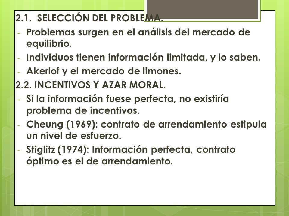 2.1. SELECCIÓN DEL PROBLEMA. - Problemas surgen en el análisis del mercado de equilibrio. - Individuos tienen información limitada, y lo saben. - Aker