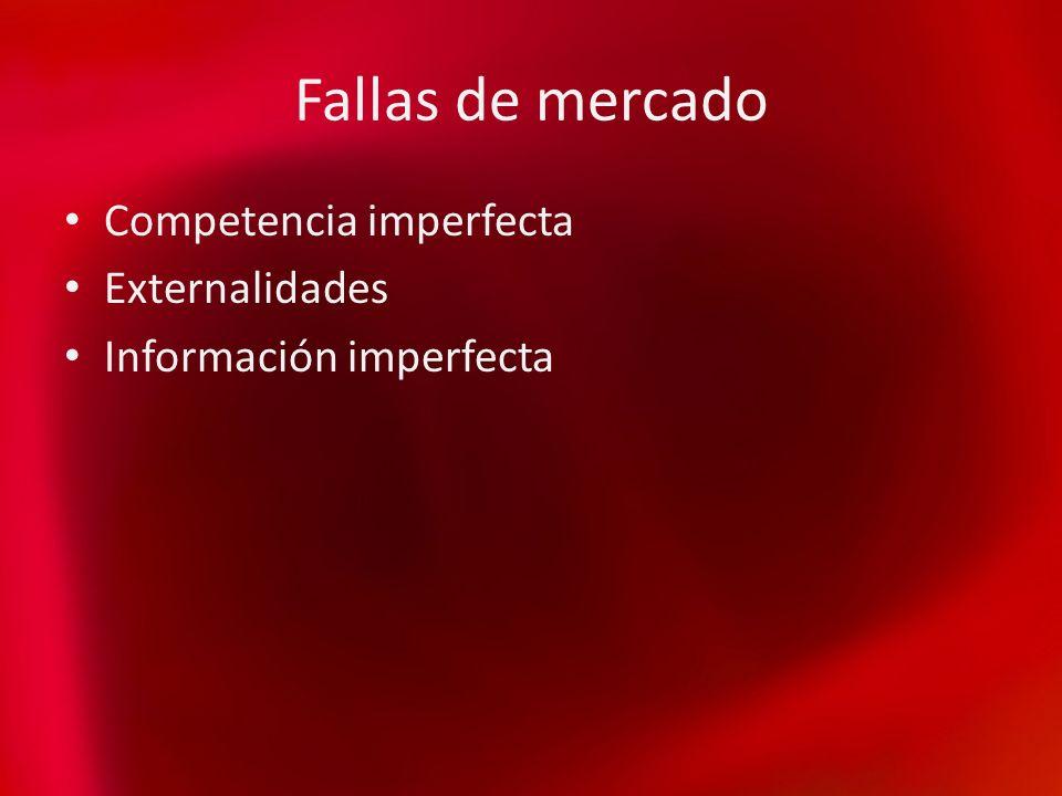 Fallas de mercado Competencia imperfecta Externalidades Información imperfecta
